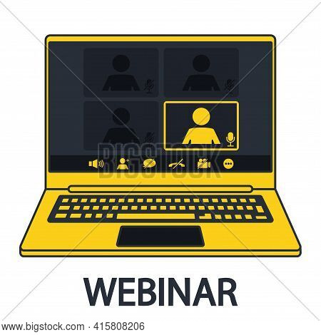 Webinar Interface In Notebook. Online Communication, Chatting. Customer Support. Video Conference Us