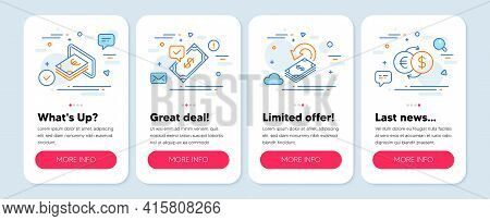 Set Of Finance Icons, Such As Accepted Payment, Cashback, Cash Symbols. Mobile App Mockup Banners. M