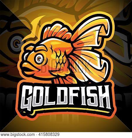 Goldfish Esport Mascot Logo Design With Text