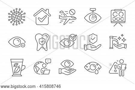 Washing Hands, Myopia And Cancel Flight Line Icons Set. Eye Laser, Conjunctivitis Eye And Dental Ins