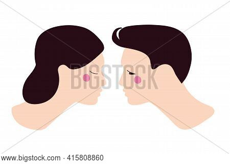 Lovely Couple Going To Kiss. Young Girl And Young Man. Flat Vector Illuctration. Portrait Of Boyfrie