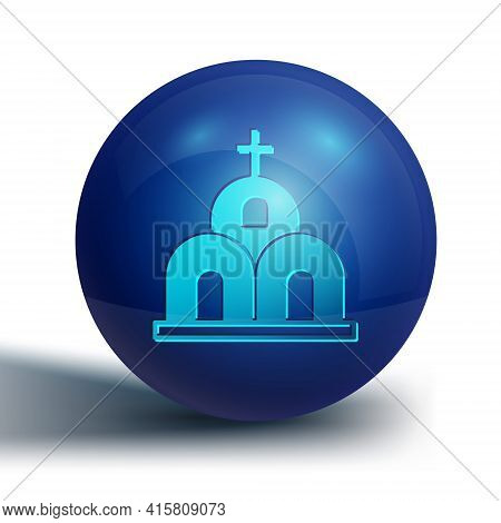 Blue Church Building Icon Isolated On White Background. Christian Church. Religion Of Church. Blue C
