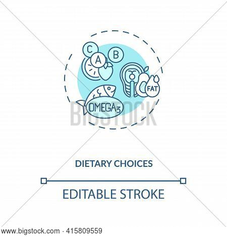 Dietary Choices Concept Icon. Clinical Trials Type Idea Thin Line Illustration. Providing Healthy En