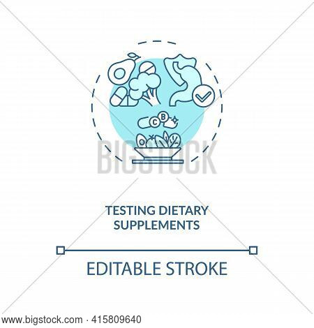 Testing Dietary Supplements Concept Icon. Clinical Trials Idea Thin Line Illustration. Nutrient Ingr