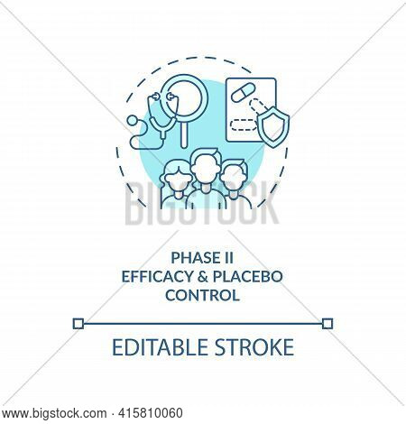 Efficacy And Placebo Control Concept Icon. Clinical Trials Phase 2 Idea Thin Line Illustration. Phar