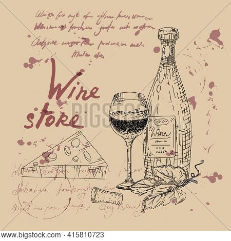 Wine Store Products Hand Drawn Scetch. Grapes, Wooden Barrel, Bottles, Chees, Glass, Vintage Style U
