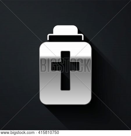 Silver Funeral Urn Icon Isolated On Black Background. Cremation And Burial Containers, Columbarium V