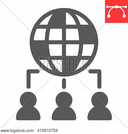 Outsourcing Glyph Icon, Global And Teamwork, Outsource Vector Icon, Vector Graphics, Editable Stroke