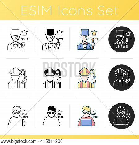 Social Status Types Icons Set. Aristocratic Elite. Clergy, Religious Figure, Catholic Priest. Progra