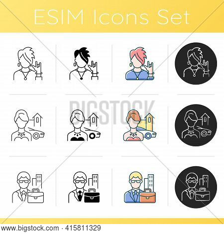 Social Status Icons Set. Goth, Punk, Emo Subculture. Upper Class. White Collar Worker. Executive Man