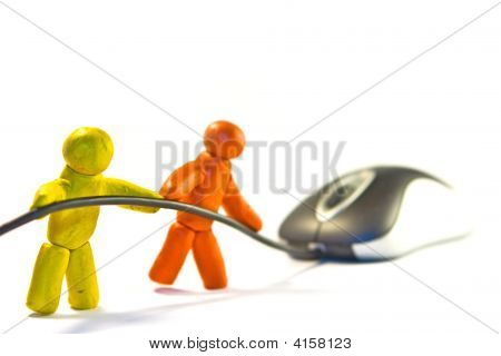 Two plasticine men towing a mouse by cord poster