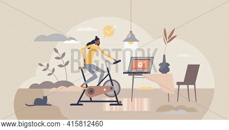 Stationary Bicycle And Indoor Cycling Activity Trainer Tiny Person Concept