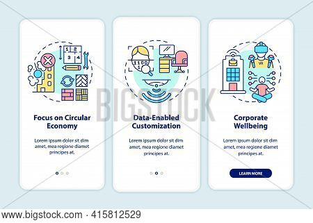 Future Office Design Trends Onboarding Mobile App Page Screen With Concepts. Corporate Wellbeing Wal