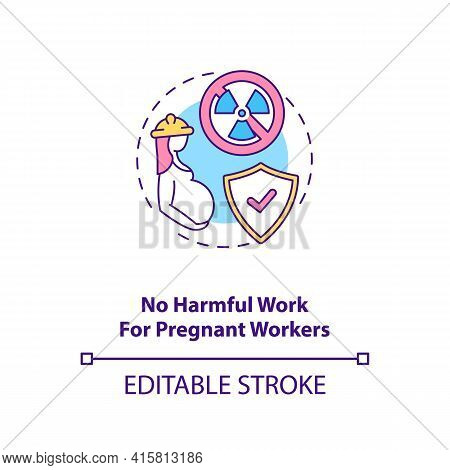 No Harmful Work For Pregnant Workers Concept Icon. Expecting Mother Health Safety. Migrant Worker Ri