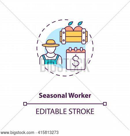 Seasonal Worker Concept Icon. Temporary Work. Short Term Job. Apple Picking. Migrant Worker Rights I