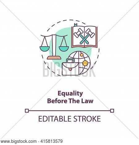 Equality Before The Law Concept Icon. Legislation, Court Justice.attorney Defense. Migrant Worker Ri