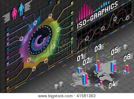 Infographic Flower Histogram Set Elements In Various Colors
