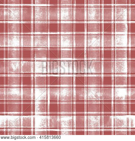 Watercolor Grunge Shabby Chic Stripe Plaid Seamless Pattern. Red Stripes On White Background. Waterc