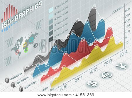 Infographic  Histogram Set Elements In Various Colors