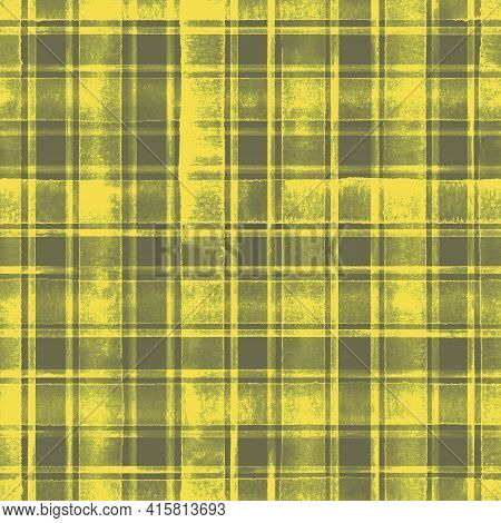 Watercolor Grunge Shabby Chic Stripe Plaid Seamless Pattern. Grey Gray Stripes On Yellow Background.