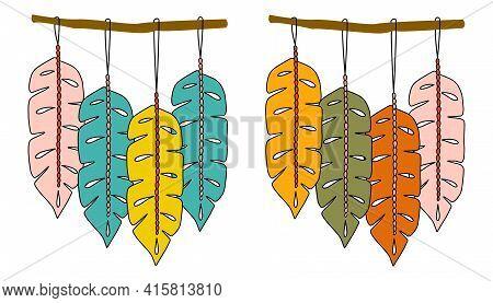 Bohemian Set Macrame Wall Hangings, Great Design For Any Purposes. Bohemian Style Wall Decor. Boho W