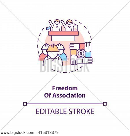 Freedom Of Association Concept Icon. Labour Union. Employees Teamwork. Migrant Worker Rights Idea Th