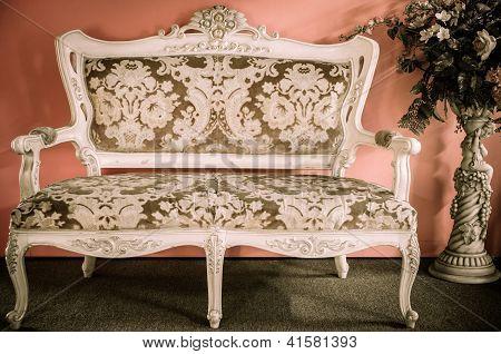 Old Chair Vintage Style - Vase Of Flowers.
