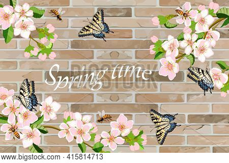 Blooming Cherry On A Brick Wall Background.butterflies, Bees And Blooming Sakura On A Brick Wall Bac