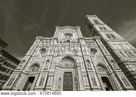 Facade Of Cathedral Santa Maria Del Fiore In Florence, Italy