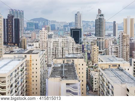Skyline Of Residential District Of Hong Kong City
