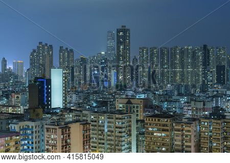 Night Scenery Of Skyline Of Downtown District Of Hong Kong City