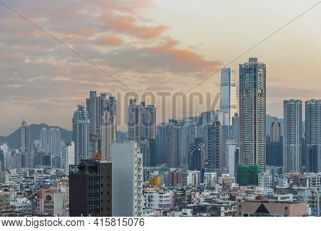 Skyline Of Downtown District Of Hong Kong City At Dusk