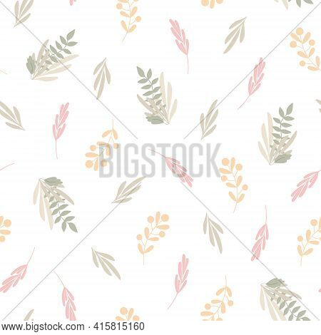 Simple Pastel-colored Floral Seamless Pattern, Flat Style Vector Illustration, Symbol Of Spring, Coz