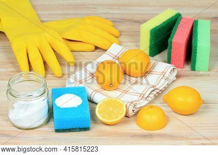 Eco Friendly Natural Cleaners. Home Cleaning Concept. Baking Soda (sodium Bicarbonate), Lemon, Salt