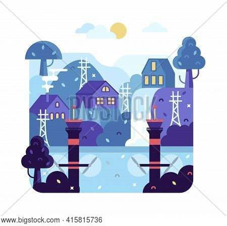 Tidal Power Plant Concept - Flat Cartoon Illustration With Small Houses In Nature Near The Waterfall