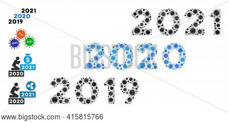 2019 - 2021 Years Bacteria Mosaic Icon. 2019 - 2021 Years Collage Is Made Of Random Bacilla Pictogra