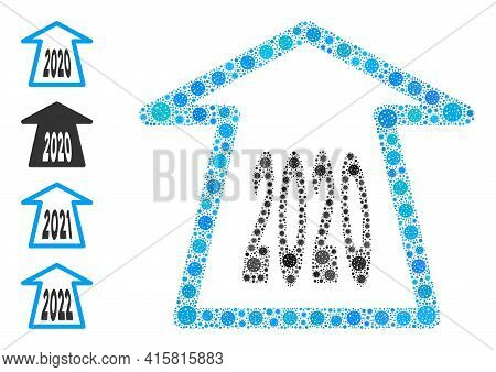 2020 Ahead Arrow Coronavirus Mosaic Icon. 2020 Ahead Arrow Collage Is Formed From Random Bacilla Ico