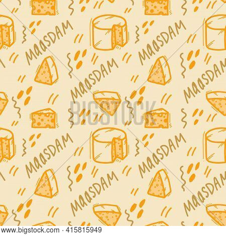The Pattern Of Cheese And Dairy Products. Cheeses, Maasdam, Cottage Cheese, Cream Cheese. Yellow Doo