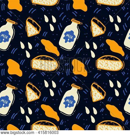 Background Of Dairy Products. Cheeses, Maasdam, Cottage Cheese, Cream Cheese, Milk. Doodle Pattern W
