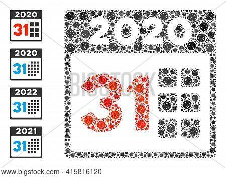2020 Last Day Coronavirus Mosaic Icon. 2020 Last Day Collage Is Shaped With Randomized Coronavirus P