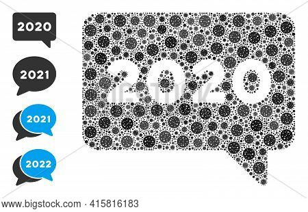 2020 Message Covid Mosaic Icon. 2020 Message Collage Is Designed Of Randomized Covid Pictograms. Bon