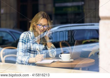 Happy Carefree Female Student Prepare Freelance Project Working Laptop Sitting Cafe Laughing Outside