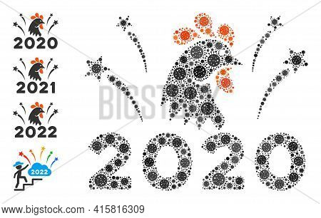 2020 Rooster Fireworks Covid Mosaic Icon. 2020 Rooster Fireworks Collage Is Organized Of Scattered C