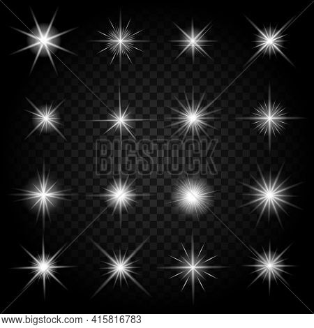 Stars Bursts With Sparkles And Glowing Light Effects. Graphic Bright Set, Burst Firework Twinkle, Ve