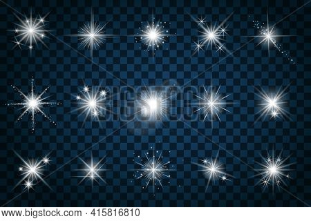 Shine Stars With Glitters And Sparkles. Effect Twinkle, Design Glare, Scintillation Element Sign, Gr