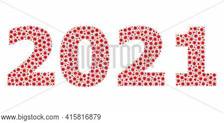Vector 2021 Year Digits Covid-2019 Mosaic Icon Designed For Pharmacy Posters. 2021 Year Digits Mosai
