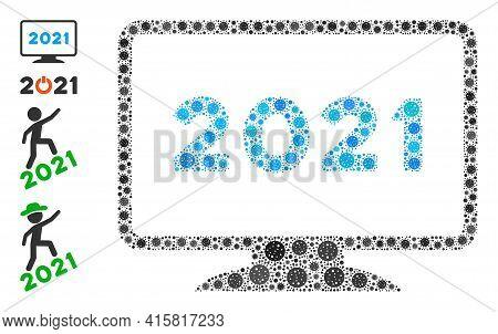 2021 Display Virus Mosaic Icon. 2021 Display Collage Is Composed Of Randomized Coronavirus Icons. Bo