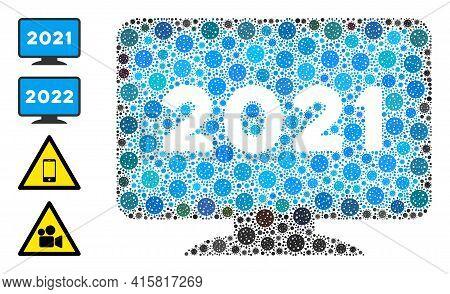 2021 Display Screen Covid Mosaic Icon. 2021 Display Screen Collage Is Shaped With Random Coronavirus