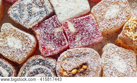 Oriental Sweetness Handmade Turkish Delight. Background. Copy Space.