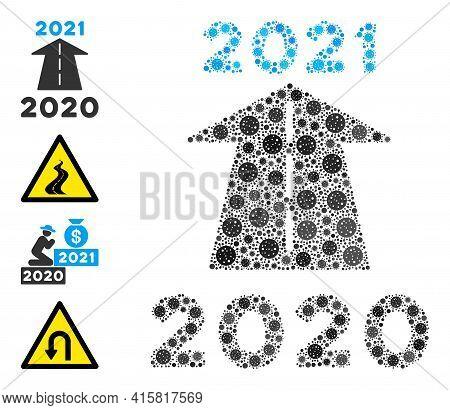 2021 Future Road Coronavirus Mosaic Icon. 2021 Future Road Collage Is Designed With Randomized Coron